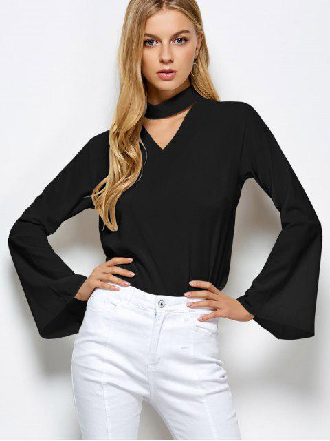 women Loose Choker Flare Sleeve Blouse - BLACK S Mobile