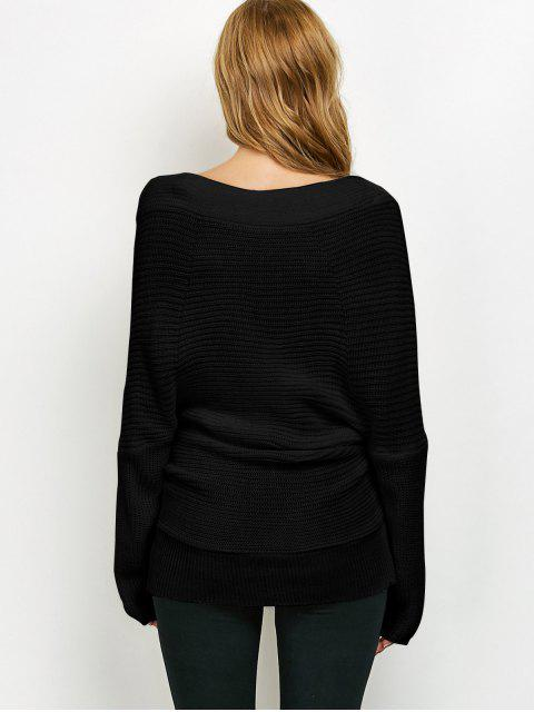 hot Wrap Front Sweater - BLACK ONE SIZE Mobile