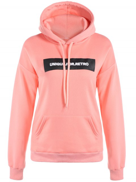 fashion Drawstring Letter Loose Hoodie - PINK L Mobile