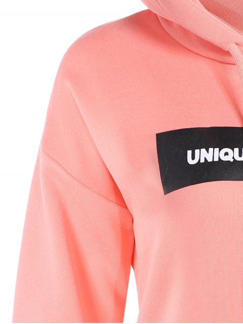 latest Drawstring Letter Loose Hoodie - PINK 2XL Mobile