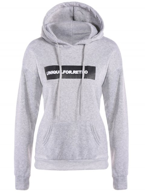 womens Drawstring Letter Loose Hoodie - LIGHT GRAY S Mobile