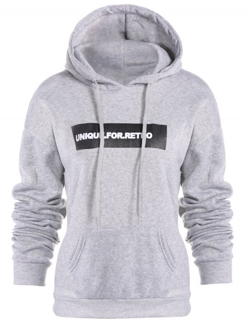 sale Drawstring Letter Loose Hoodie - LIGHT GRAY XL Mobile
