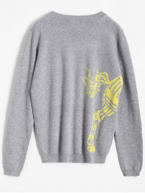 lady Horse Jacquard Pullover Sweater - GRAY ONE SIZE Mobile