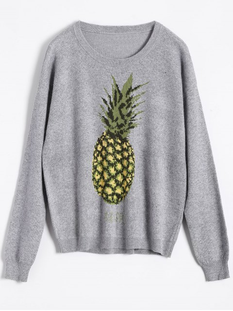 best Pineapple Jacquard Pullover Sweater - GRAY ONE SIZE Mobile