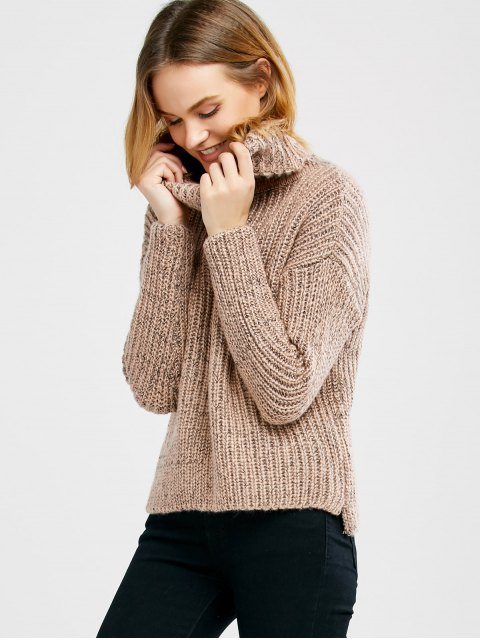 shops Turtle Neck Heathered Pullover Sweater - PINK ONE SIZE Mobile