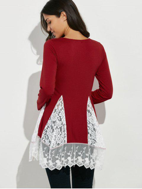 outfit Scoop Neck Lace Panel Longline Tee - RED S Mobile