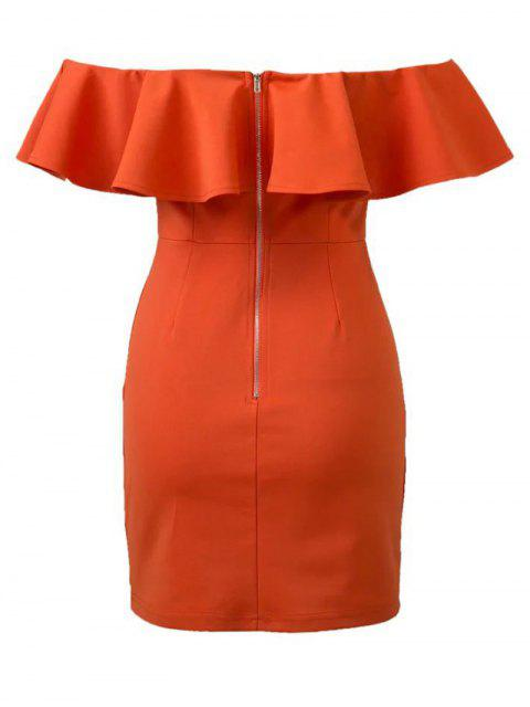 shops Off The Shoulder Ruffles Bodycon Dress - ORANGE RED L Mobile