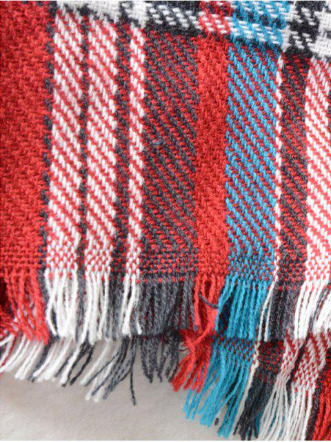 womens Plaid Pattern Fringed Cowl Scarf -   Mobile