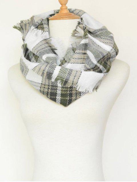 women's Plaid Pattern Fringed Cowl Scarf -   Mobile