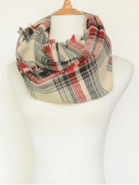 lady Plaid Pattern Fringed Cowl Scarf -   Mobile