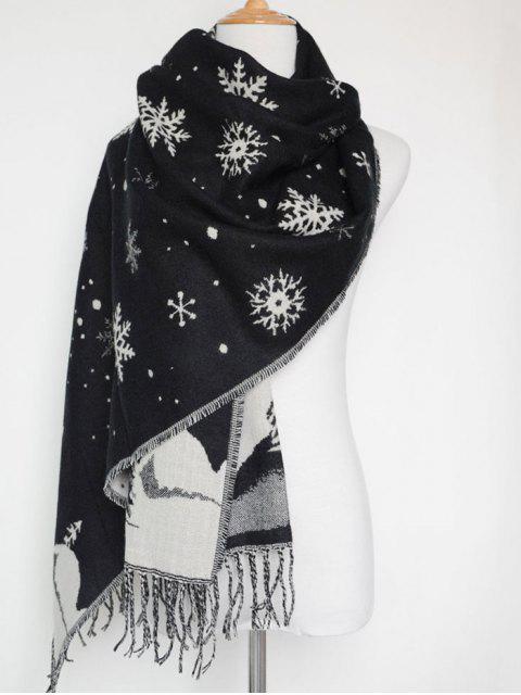 Écharpe de Noël à cordelière avec motif de paysage couvert de neige - Noir  Mobile