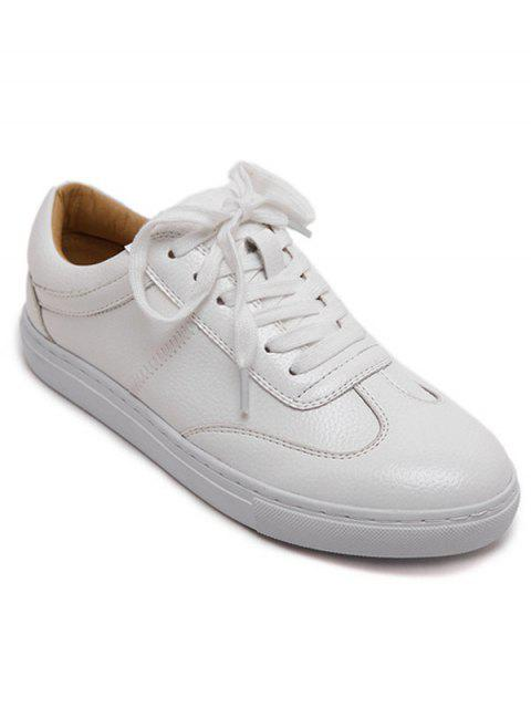 fancy White Tie Up Round Toe Athletic Shoes - WHITE 37 Mobile