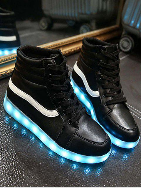shop LED Light High Top Sneakers - BLACK 39 Mobile