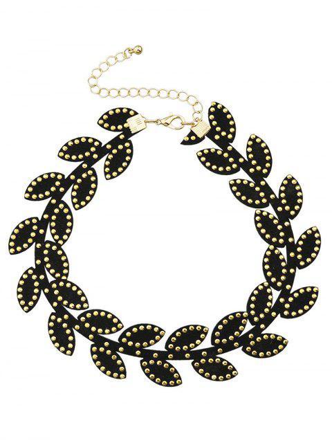 trendy Rivet Leaf Choker Necklace -   Mobile