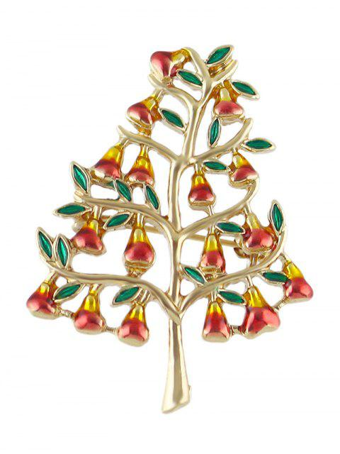 Broche d'arbre en alliage de pierres artificielles - Or  Mobile