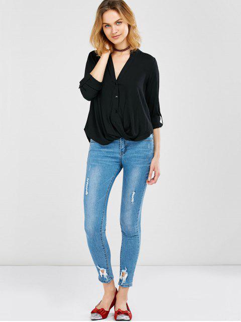 online Oversized Asymmetrical Blouse - BLACK XL Mobile