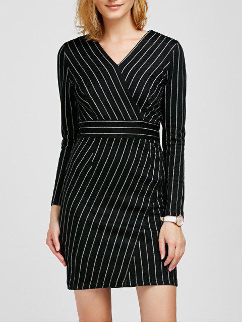 chic V Neck Long Sleeve Striped Bodycon Dress - BLACK L Mobile