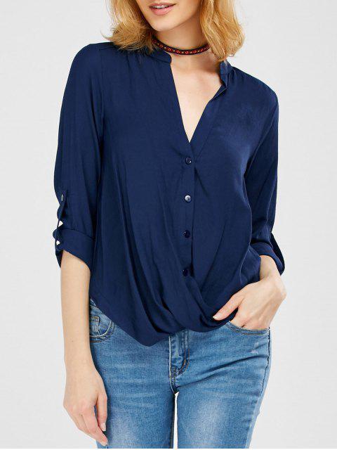latest Oversized Asymmetrical Blouse - PURPLISH BLUE XL Mobile