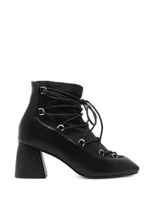 women Lace Up PU Leather Panel Ankle Boots - BLACK 38 Mobile