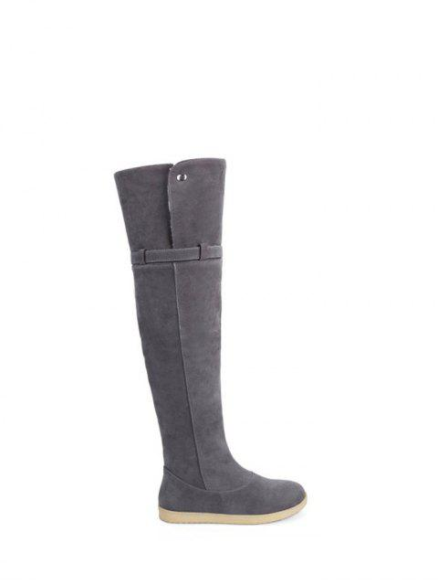 outfit Buckle Strap Flat Heel Thigh Boots - GRAY 39 Mobile