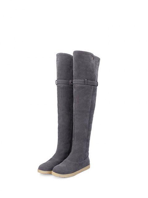 shop Buckle Strap Flat Heel Thigh Boots - GRAY 38 Mobile