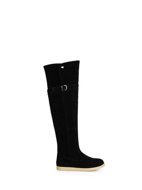 trendy Buckle Strap Flat Heel Thigh Boots - BLACK 38 Mobile