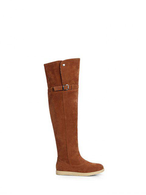 fancy Buckle Strap Flat Heel Thigh Boots - BROWN 38 Mobile
