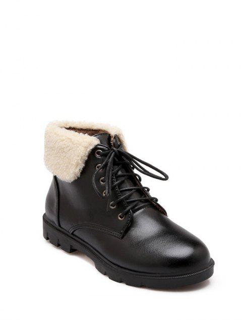 affordable Lace Up Faux Shearling Insert Short Boots - BLACK 38 Mobile