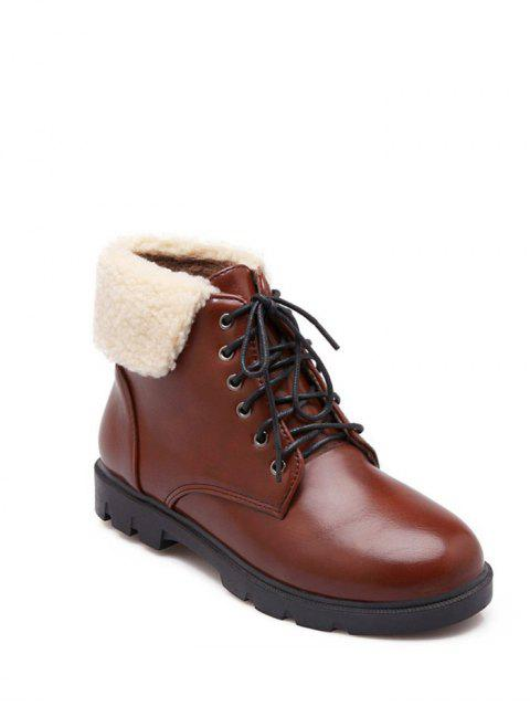 buy Lace Up Faux Shearling Insert Short Boots - BROWN 39 Mobile