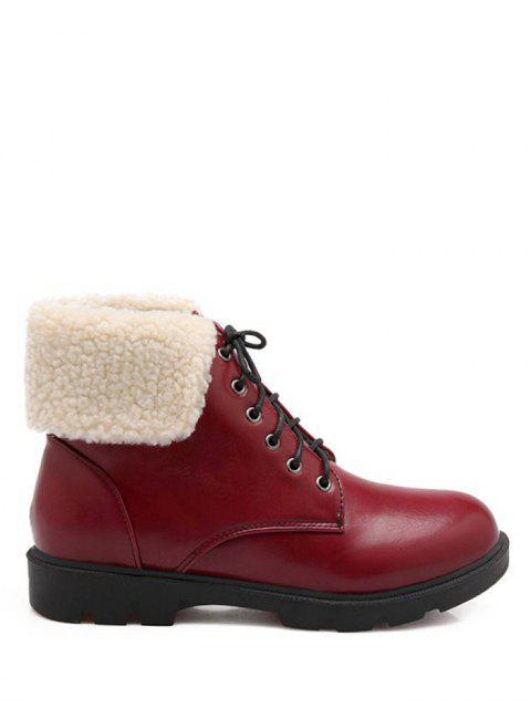 women's Lace Up Faux Shearling Insert Short Boots - WINE RED 39 Mobile