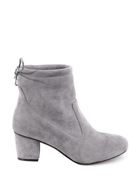 best Chunky Heel Suede Short Boots - GRAY 39 Mobile