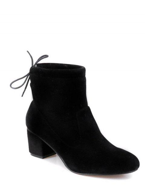 outfits Chunky Heel Suede Short Boots - BLACK 38 Mobile