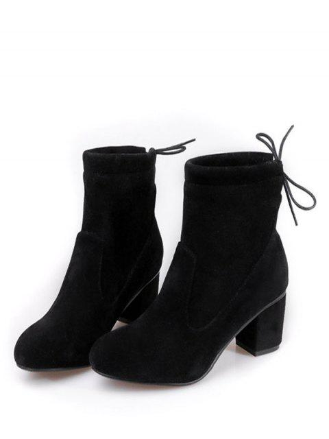 hot Chunky Heel Suede Short Boots - BLACK 39 Mobile