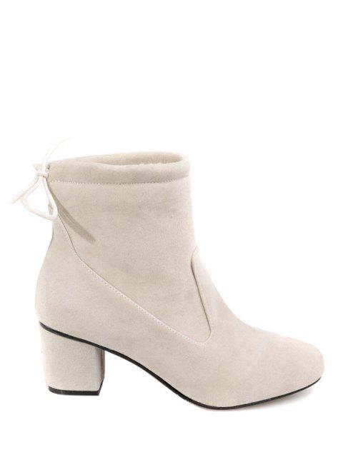 shops Chunky Heel Suede Short Boots - OFF-WHITE 37 Mobile