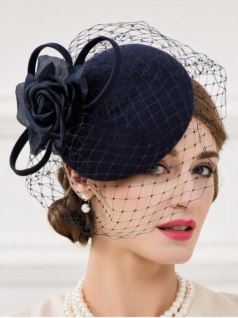 lady Flower and Veil Felt Pillbox Hat -   Mobile