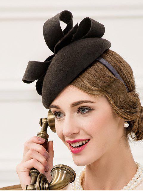 best Hair Clip Wool Felt Pillbox Hat - BLACK GREY  Mobile