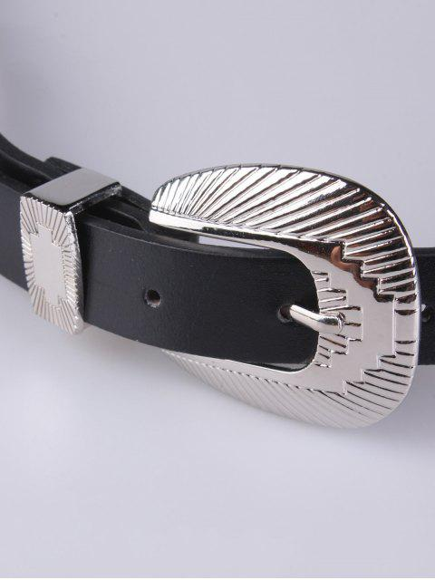 fashion Double Shell Buckles PU Belt - BLACK  Mobile