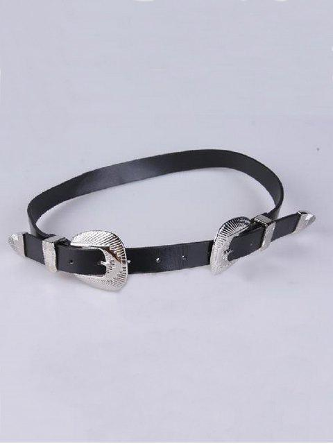 fashion Double Shell Buckles PU Belt - BLACK  Mobile