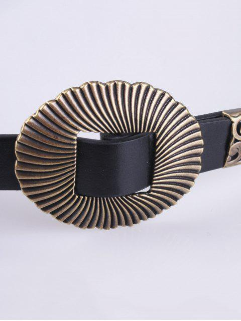 sale Triple Buckle PU Belt - BLACK  Mobile
