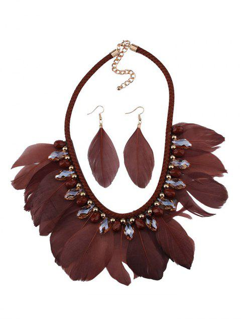 ladies Artificial Gemstone Feather Necklace and Earrings - COFFEE  Mobile