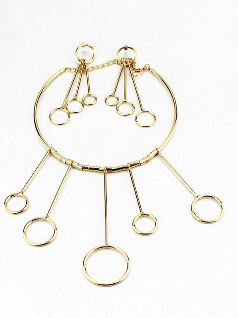 outfits Circles Necklace with Drop Earrings - GOLDEN  Mobile