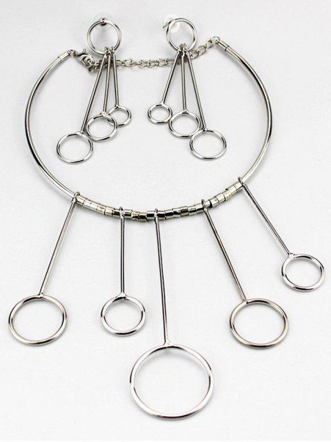 shops Circles Necklace with Drop Earrings -   Mobile