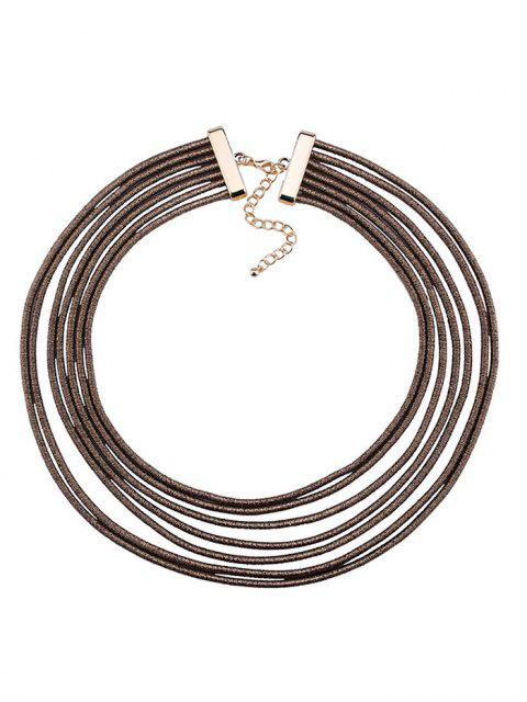 fashion Artificial Leather Rope Layered Choker Necklace -   Mobile