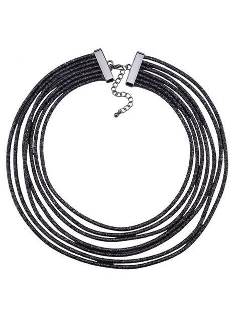 fancy Artificial Leather Rope Layered Choker Necklace -   Mobile