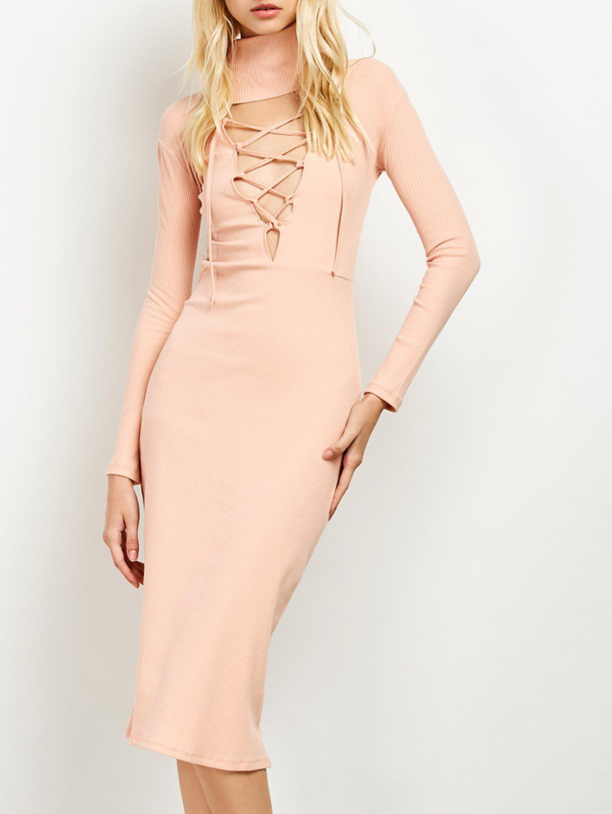 Turtleneck Ribbed Knit Midi Dress