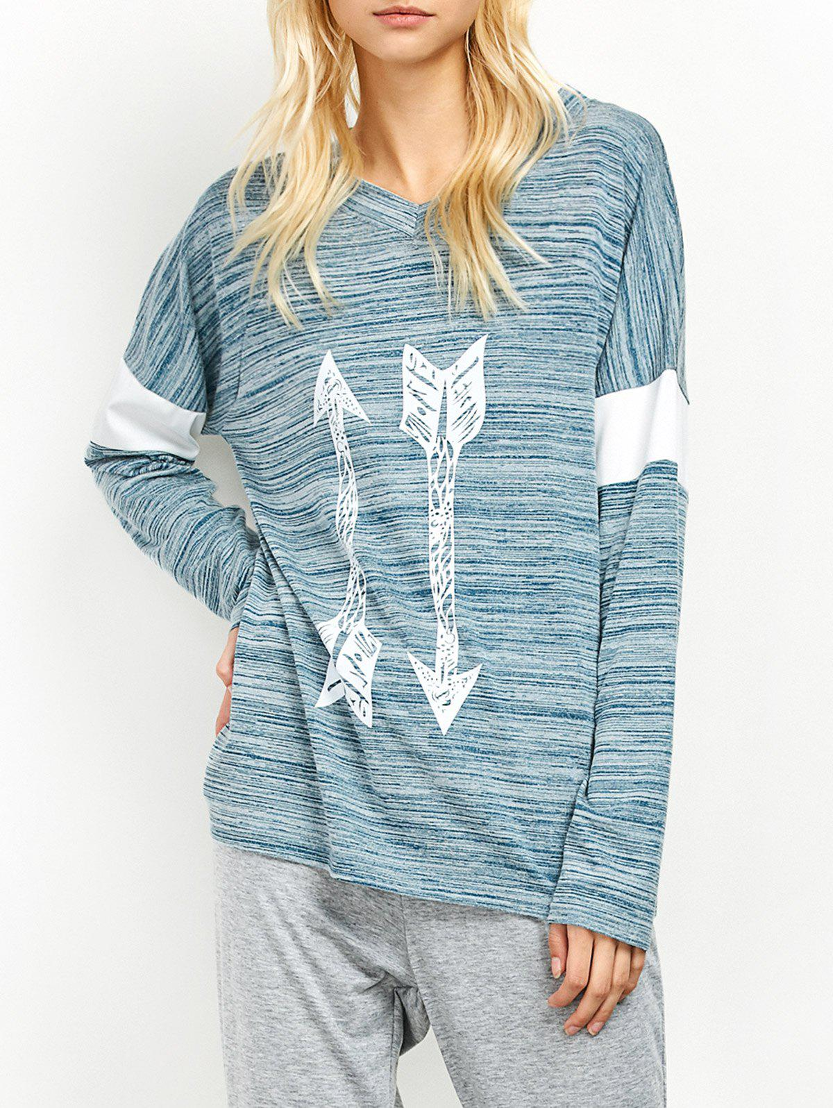 Espace Dyed Flèche Motif col en V T-shirt