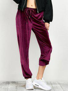 Velour Drawstring Sweatpants - Burgundy L