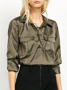 OL Lace-Up Shirt - Green S
