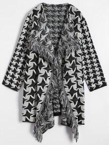 Drape Front Houndstooth Cardigan - White And Black