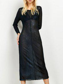 Shimmer Long Dress - Purplish Blue S